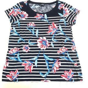 Lands End Mixed Print Floral/Stripes Tee Sz M EUC